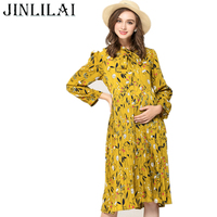JINLILAI 2017 Maternity Dress Autumn And Winter Pregnancy Clothes Pastoral Style Bow Tie Printing Long Sleeves
