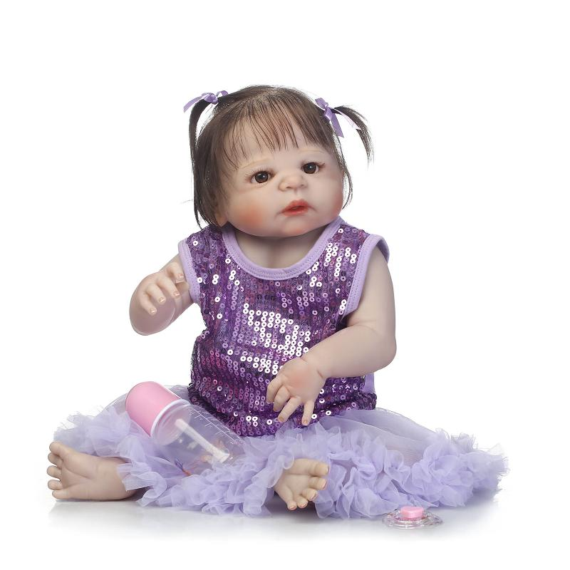 55cm Silicone Bebe Reborn Dolls with Full Vinyl Body Toys for Children Lifelike Bonecas Dolls in Princess Dress Gifts Brinquedos 22inch 55cm silicone vinyl reborn baby dolls fashion bebe princess reborn girl dolls toys with red dress set bonecas