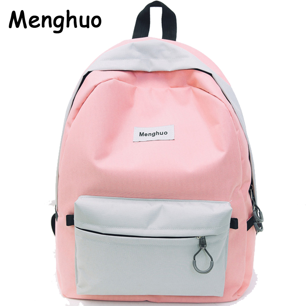 Menghuo Brand New Patchwork Women Backpacks Canvas Backpack Girls Rucksack School Backpacks for College Student Mochila Feminina