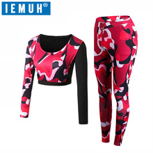 IEMUH Brand Women Yoga Suit Sport Wear Costumes For for fitness Set Running Dancing Jogging Tracksuits Jacket+Pants