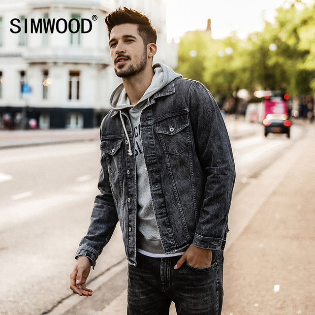 300adfc410 US $71.29 |SIMWOOD 2018 Spring Winter NEW Denim Jacket Men Slim Fit Fashion  Plus Size Jeans Jacket Men Outerwear Casual Coats NK017006-in Jackets from  ...