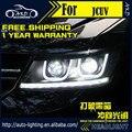 AKD Styling Car Head Lamp para Dodge JCUV Journey Faróis LED farol Freemont LEVOU H7 Opção D2H Hid Anjo Olho Xenon Bi feixe