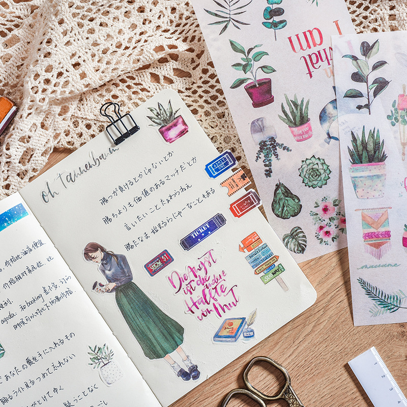 3 Pcs/pack Cartoon Japanese Girl Scenery Decorative Washi Stickers Scrapbooking Stick Label Diary Stationery Album Stickers