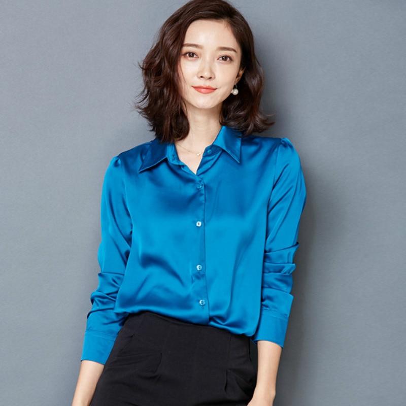 2016 New Peacock Blue Satin Shirt Women Long Sleeve Silk