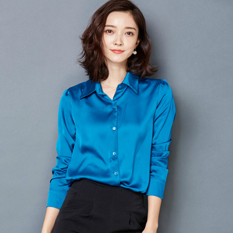 2016 new Peacock blue Satin Shirt Women Long sleeve silk Blouses loose  women work wear uniform - Compare Prices On Office Blouse Uniform- Online Shopping/Buy Low