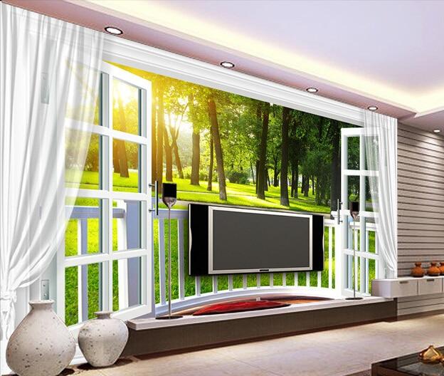 Us 15 3 49 Off Benutzerdefinierte 3d Fototapete 3d Fenster Natur Wandbild Fur Wohnzimmer Schlafzimmer Tv Hintergrund Wasserdichte Papel De Parede