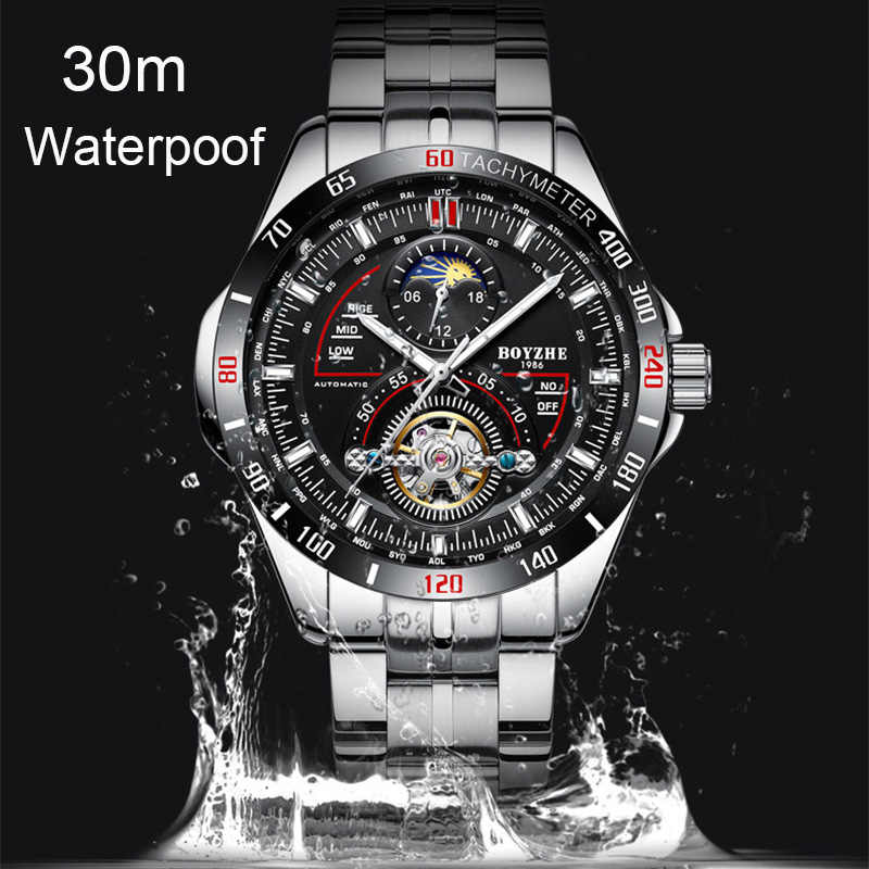 Мужские автоматические механические часы модный топ бренд спортивные турбийон часы из нержавеющей стали Moon Phase часы relogio masculino