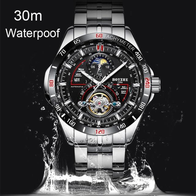BOYZHE Mechanical Watch Men Wrist Automatic Retro Watches Men Waterproof Full Steel Tourbillon Watch Clock Montre Homme 2019 New