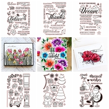 Letters Bloom Flower Transparent Clear Silicone Stamp Set for DIY Scrapbooking/Photo Album Cards Making Decorative Clear Stamp