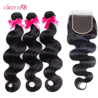 USEXY HAIR Brazilian Body Wave Hair Weave 3 Bundles With Closure Double Weft Remy Human Hair Bundles With Closure