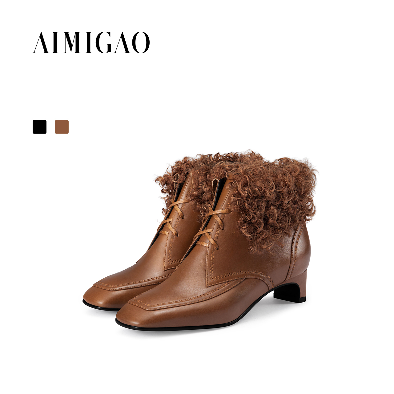 AIMIGAO square toe Fashion Lace-up women ankle boots women leather thick heel wool boots luxurious 2017 autumn winter new цены онлайн