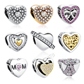 18 Estilos 100% Auténtica Plata de Ley 925 de Forma de Corazón Granos Del Encanto Fit Pandora Pulsera Colgantes BRICOLAJE de Joyas Originales