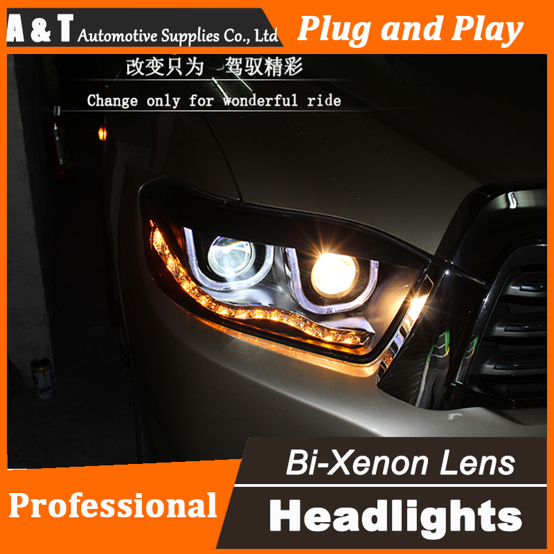 Car Styling For Toyota Highlander headlight assembly 2009-2012 For Highlander LED headlight led drl H7 with hid kit 2 pcs. car styling head lamp for bmw e84 x1 led headlight assembly 2009 2014 e84 led drl h7 with hid kit 2 pcs