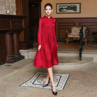 VOA 2017 Autumn New Chinese Red Silk Jacquard Simple Shirt Dress Plus Size Brief Casual High Quality Women Dresses ALA01201