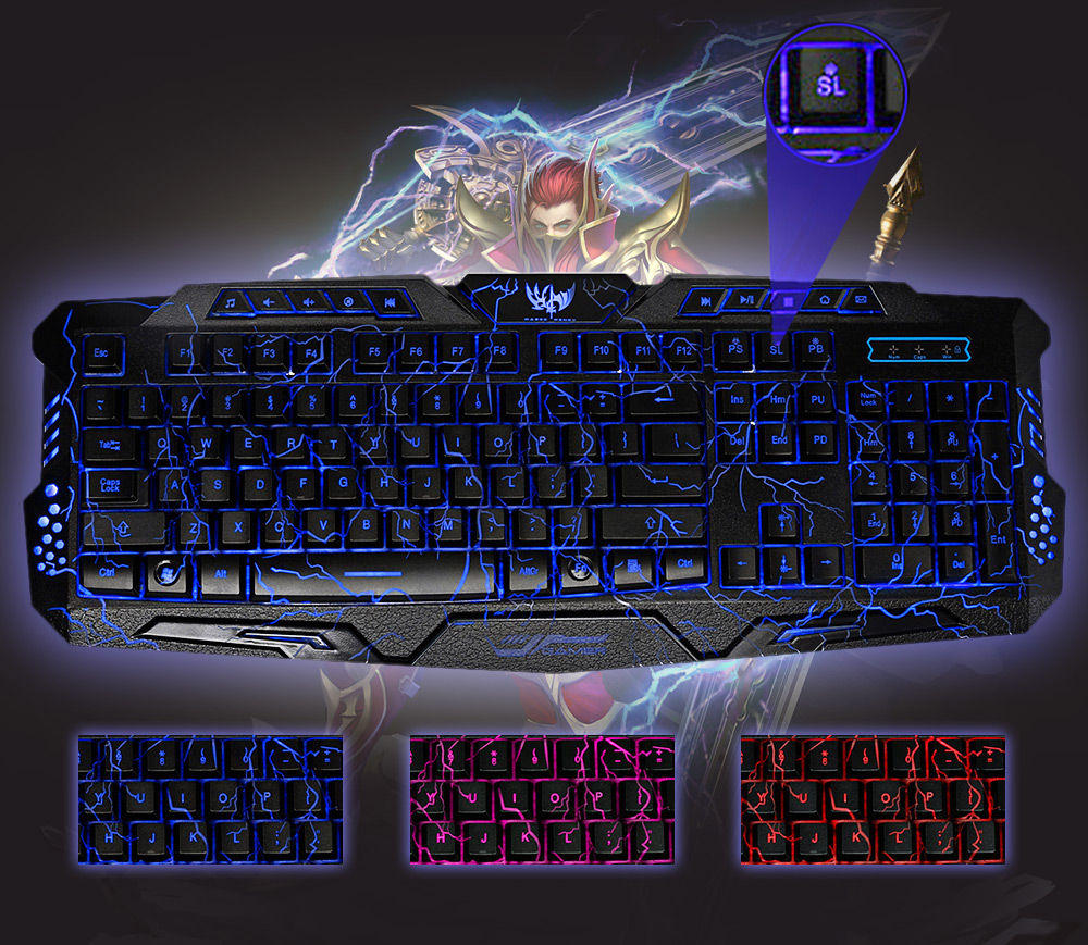 ZEEPIN M-200 1.4M 3 Colors Backlight Wired Bilingual USB Powered Gaming Keyboard