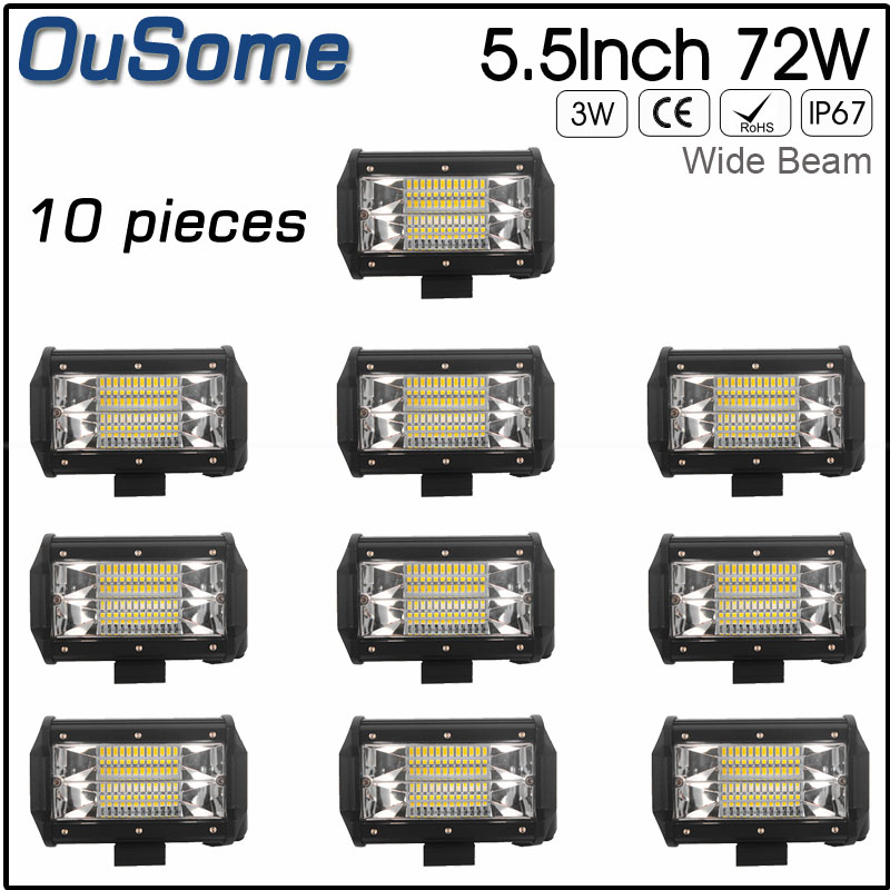 10PCS 5.5inch 72W flood beam long life waterproof 6000K 4 inch 12v 24v tractor auto led work light offroad
