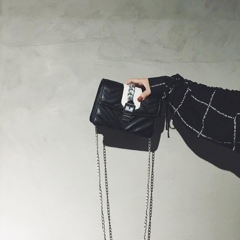 Modo Beige Coreana Femminile il Blocco Semplice Rombico Versione blu Della Di Piccola Del Catena Piazza Piccolo Messaggero Sacchetto Nero 6qx0ZwCq