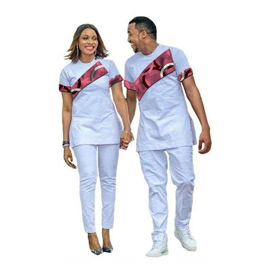 Mode africaine Couples robe dashiki chemise avec pantalon imprimé africain avec mélange blanc hauts + pantalon vêtements unsex personnalisés