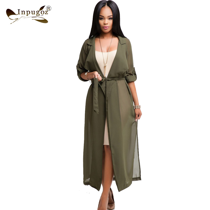 Hot Summer Long Style Chiffon   Trench   Elegant Women Open   Trench   Casual Coat