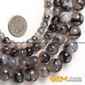 Round Black Crackle Agate Beads,Selectable Size 8mm To 14mm,Fashion DIY Beads,For Bracelet Making Strand 15""