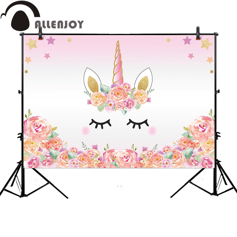 Allenjoy pink unicorn photography backdrop birthday flower banner Dessert table Background photobooth photocall original design allenjoy backdrop spring background green grass light bokeh dots photocall kids baby for photo studio