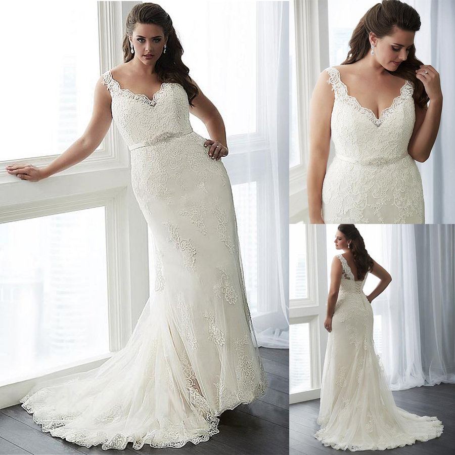 Elegant Tulle V-neck Neckline Mermaid Plus Size Wedding Dress With Lace Appliques Beading Belt 26W Size Bridal Gowns