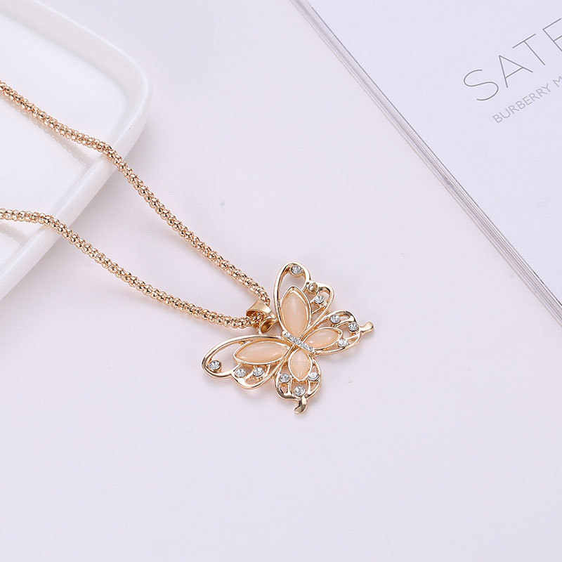 Розовое золото Опал бабочка кулон ожерелье кристалл полый длинное ожерелье для женщин Модный женский свитер цепь Подарочный Шарм ожерелье