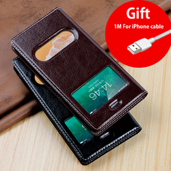 For iPhone XS Max Case Cover Luxury Flip Leather Window View Case for iPhone SE 5S 5 6 6s 7 8 X XS XR Plus Phone Case Coque