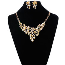 YAAYOO Newest Women Fashion Yellow/White Color Simulated-Pearls Rhinestone Leaves Choker Jewelry Necklace Set For Women Wedding