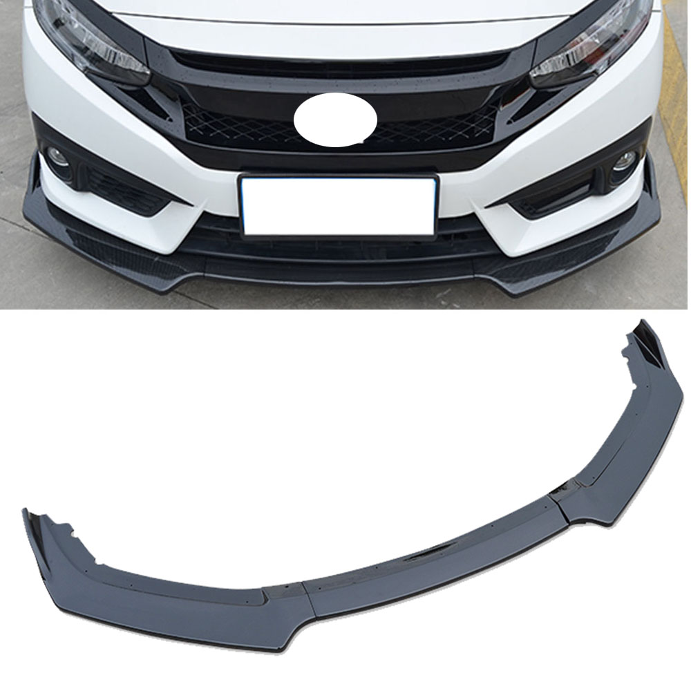 Honda Civic 2016 Black >> Us 75 64 11 Off Bright Black Front Bumper Lip Body Kit Spoiler For Honda Civic 2016 2018 3 Pcs In Bumpers From Automobiles Motorcycles On