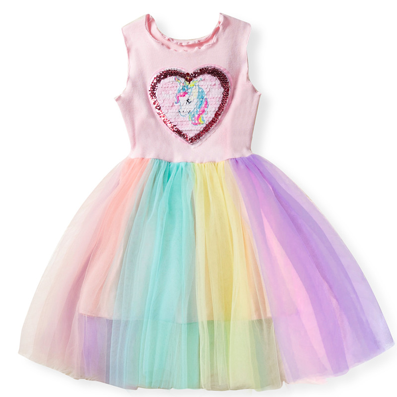 summer unicorn dress for girls sequins heart sleeveless