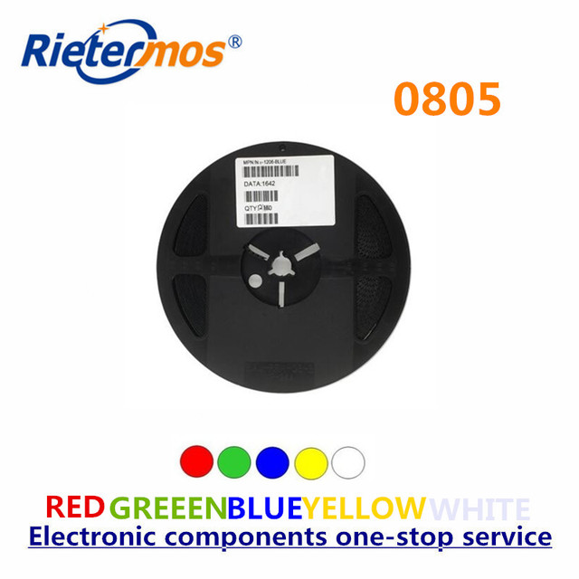 Rietermos SMD 0805 3000PCS a reel    Red Blue Green Yellow  White  Warm white  Orange  led light made in China