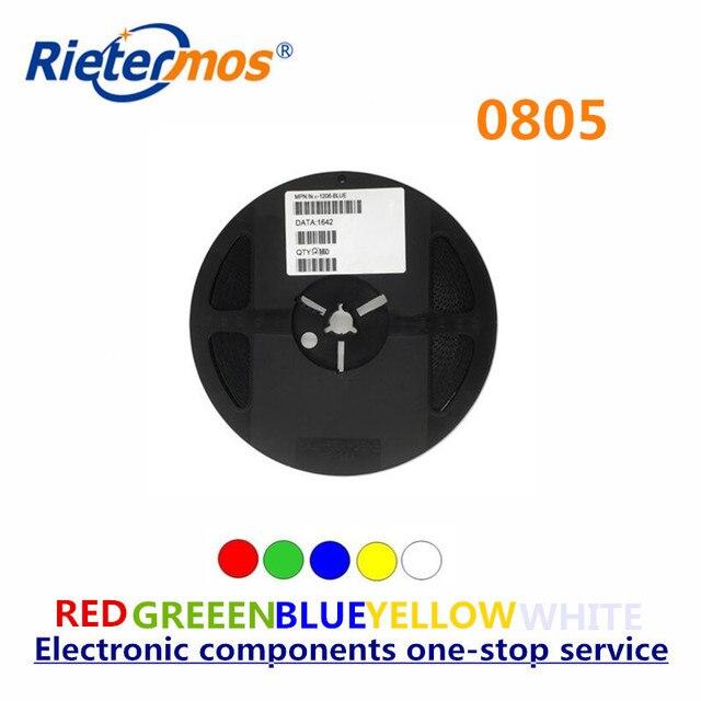 Rietermos SMD 0805 3000PCS סליל אדום כחול ירוק צהוב לבן חם לבן כתום led אור תוצרת סין