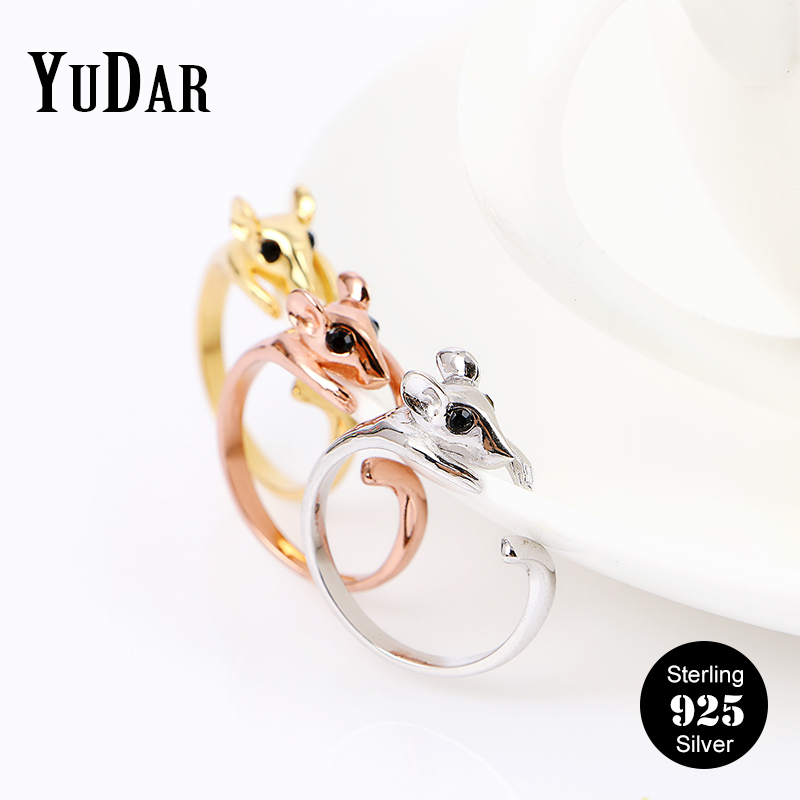 925 Sterling Silver Mouse Animale Open Ring Adjustable Rings Fashion Jewelry Gift for Friends Family Lovers Women Girls YDS-R012