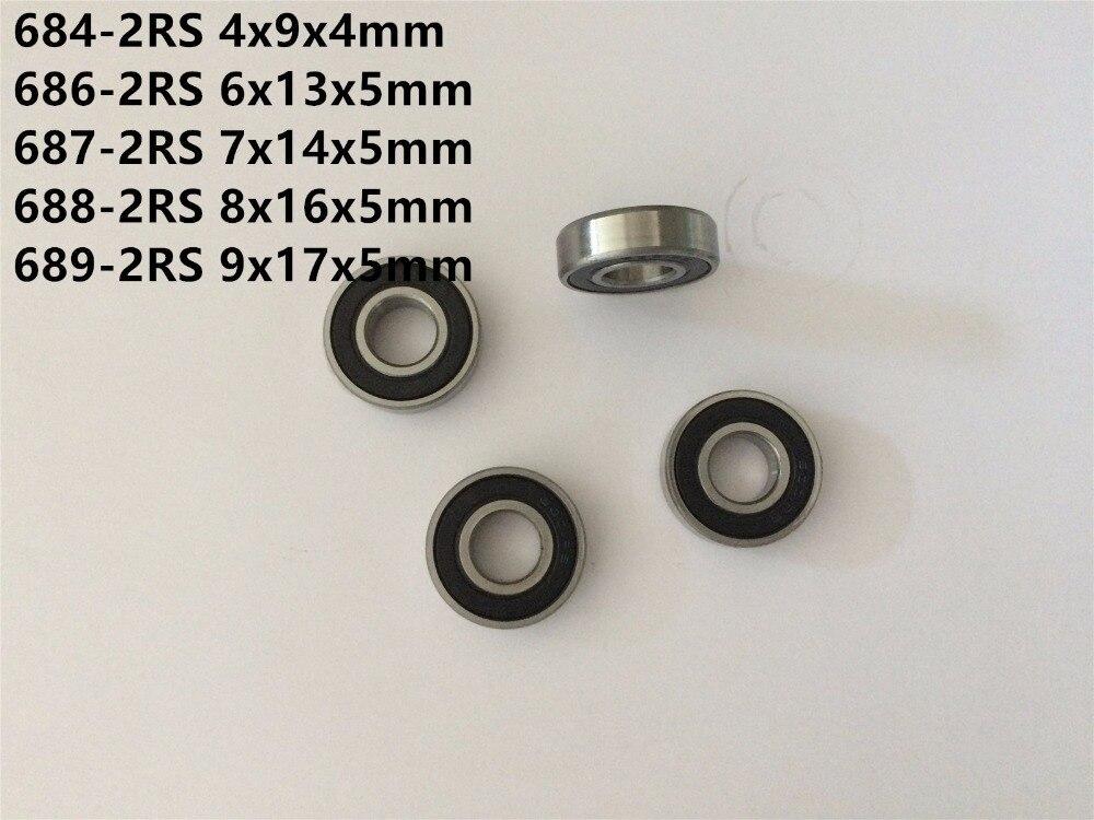 684RS 4*9*4 4x9x4 mm Rubber Sealed Ball Bearings 10 PCS BLACK 684-2RS