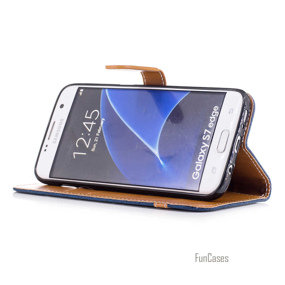 محفظة ملونة حقيبة لهاتف سامسونج جالاكسي S8 Plus S7 Edge جينز جينز حافظة لهاتف جالاكسي J7 2017 J5 A5 J3 A3 2016 Flip Capa Bag