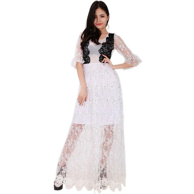 12af87a82 Mulheres Meia Manga rendas vestido de Casamento Da Noiva Vestido Longo  Elegante Fantasia Vestido De Festa