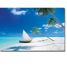 Tropical Beach Sea Waves Art Silk Poster