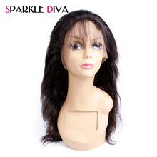 Sparkle Diva Hair 22*4*2 360 Lace Frontal Brazilian Body Wave Remy Human Hair Closure Pre-Plucked Frontal With Baby Hair Natural
