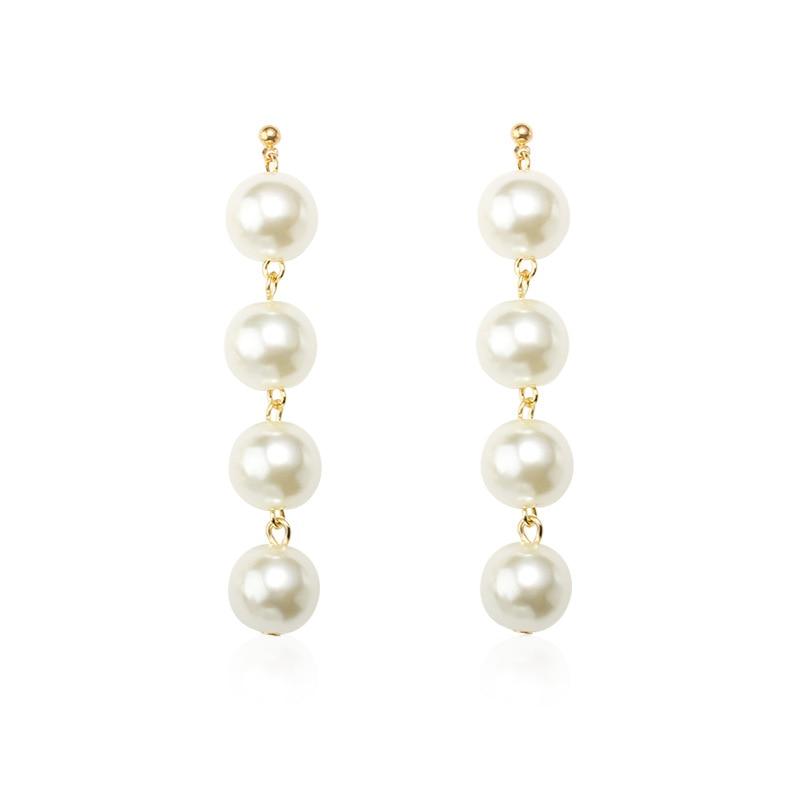 Joker Simple Temperament Beaded Earrings Exaggerated Big Imitation Pearl Tassel Long Earrings For Women Jewelry Gift in Drop Earrings from Jewelry Accessories