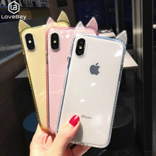 Caixa Do Telefone Para o iphone 6 6 Lovebay s 7 8 Plus X XR XS Max Luxo Bling Diamante Bonito Do Gato ouvidos Claro Suave TPU Para o iphone X Tampa(China)