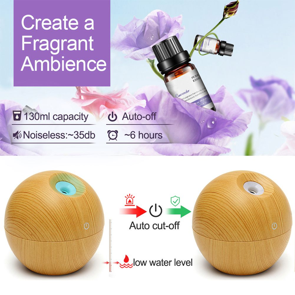 USB Aroma ESSential Oil Diffuser Ultrasonic Mist Humidifier Air Purifier Color Change LED Night light for Office Home 130ml novelty aroma diffuser with flame atmosphere led night light air humidifier essential oil diffuser mist maker for home office