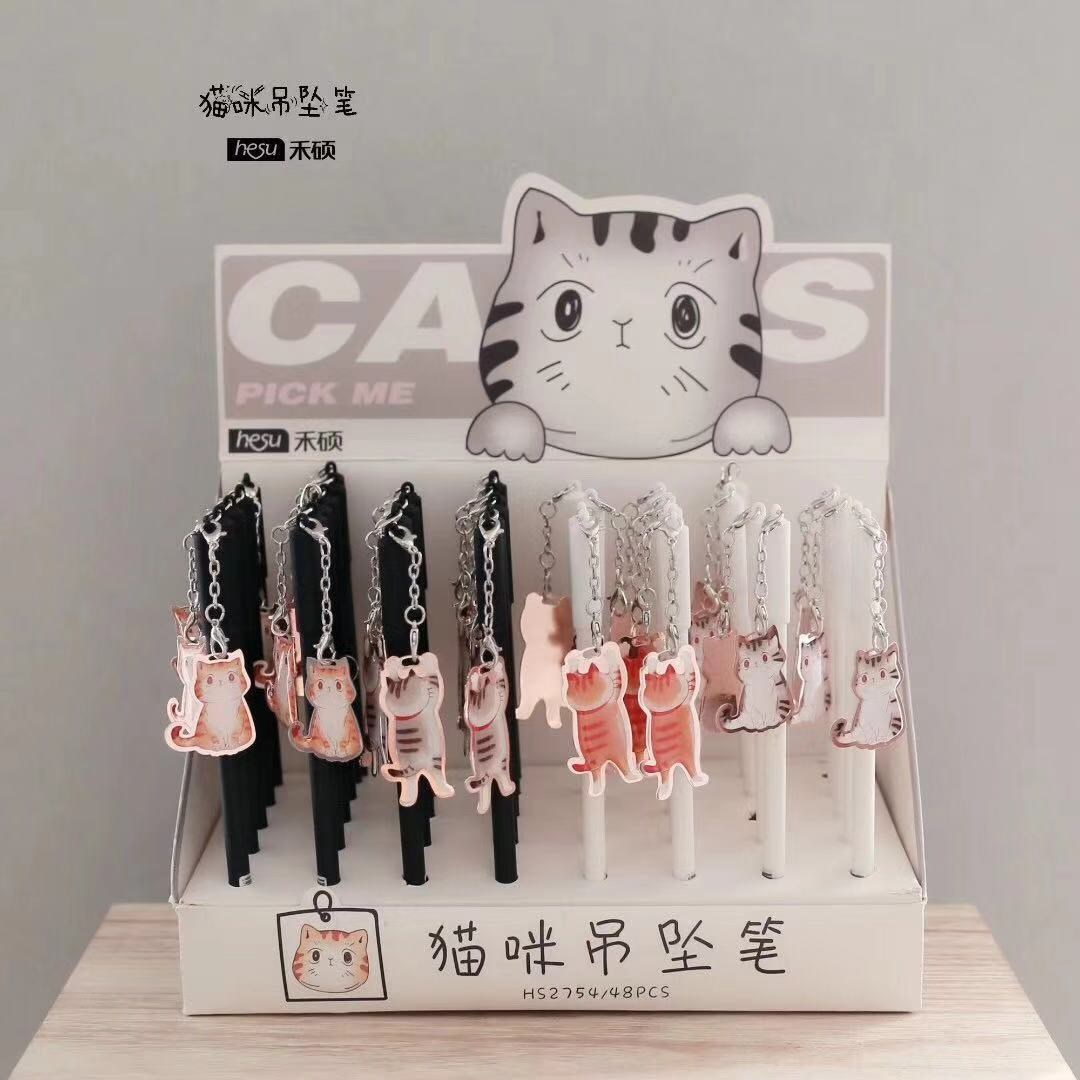 48Pcs Creative Stationery Student Pen Cute Cat Gel Pen 0 5mm Full Needle Black Ink Pen