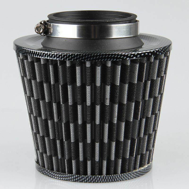 Prix pour 75mm Universal Auto Véhicule Voiture Filtre À Air Admission D'air Froid Filtre cleaner double entonnoir adaptateur fonctionne air capot filtres pour opel vw