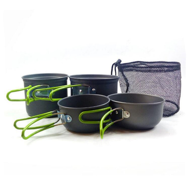 Hiking Picnic Tableware Backpacking Cookware set Aluminum Alloy Pot for 2-3 Persons Light Weight 450g Camping Cookware M150864