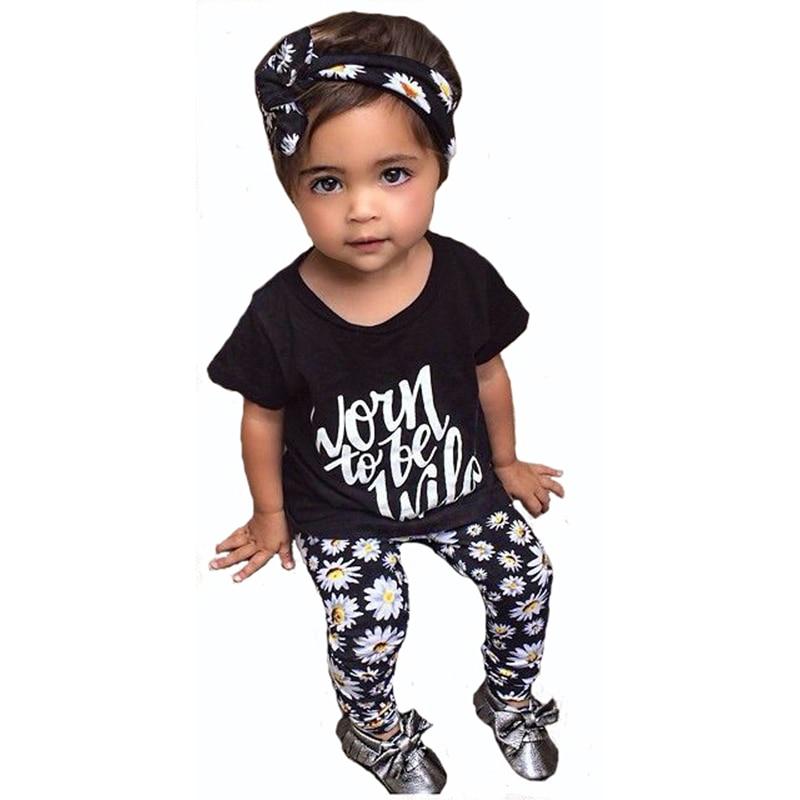 2dc9201a8259f Été Nouvelle Fille Enfants Vêtements Det Bande Dessinée Lettre Motif  T-shirt + Fleur Pantalon 2 pcs Fille Vêtements Marque Bébé vêtements Costume