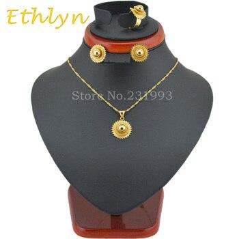 Ethly holesale promoción etíope conjuntos de joyería joias ouro Color oro joya de Etiopía africano nupcial conjuntos de joyería S48B