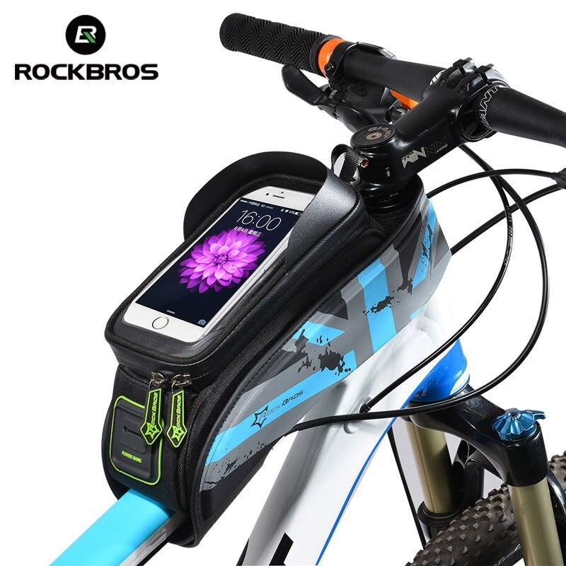 ROCKBROS MTB Straße Fahrrad Fahrrad Taschen Regendicht Touch Screen Radfahren Top Vorne Rohr Rahmen Taschen 5,8/6,0 Telefon Fall fahrrad Zubehör