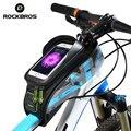 Rockbros mtb estrada da bicicleta sacos de bicicleta touch screen top ciclismo tubo frente quadro saddle bags para 5.8/6.0 células casos de telefone