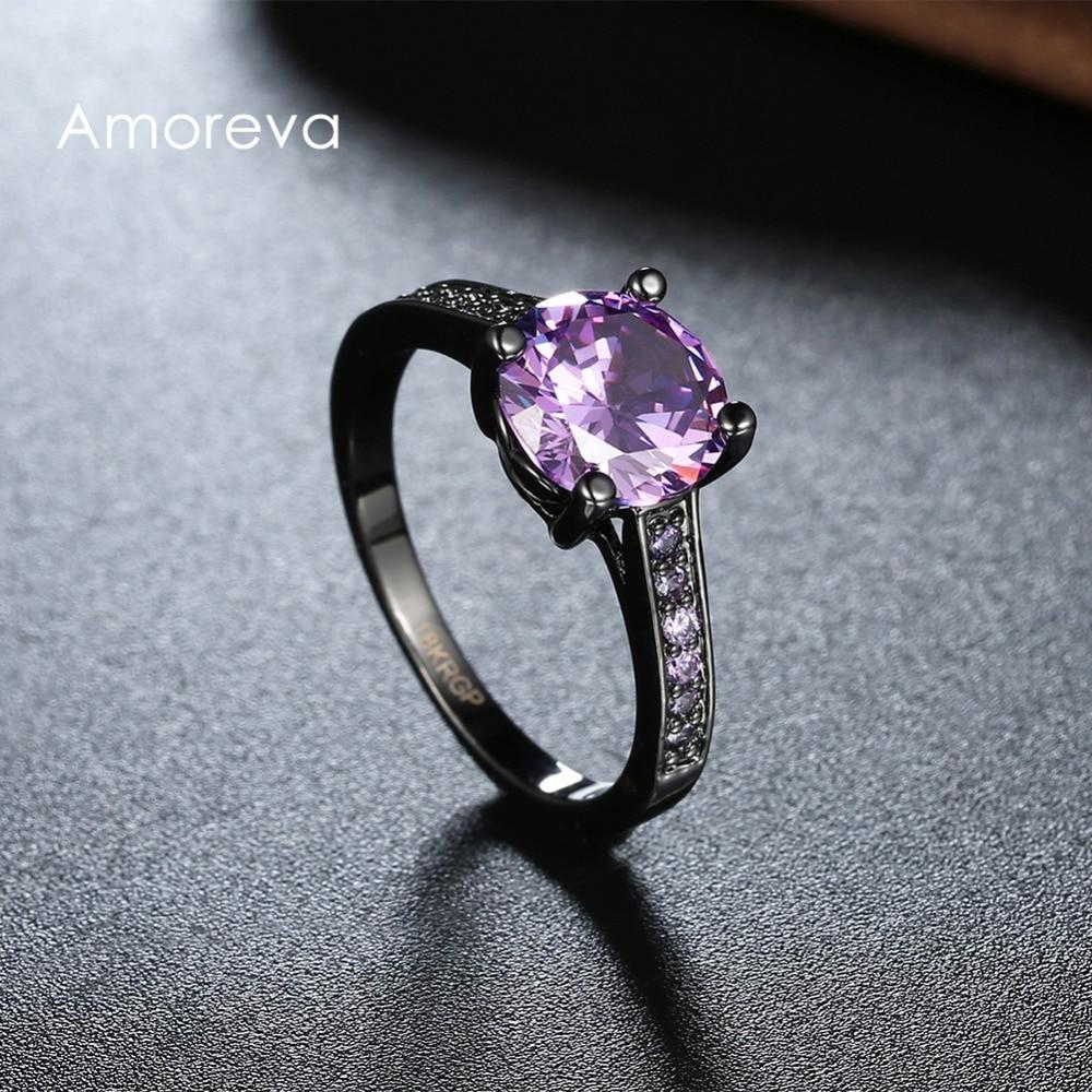 Purple Blue Green Amethyst Jewelry Cz Diamond Wedding Rings For Women  Engagement Bague Bijoux Accessories Cut Promise Rings